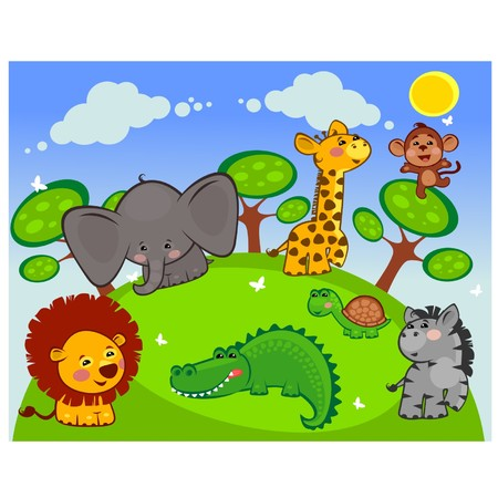 Group of African animals in the meadow Vector