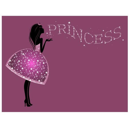 Silhouette of a beautiful princess  on a  pink background Vector
