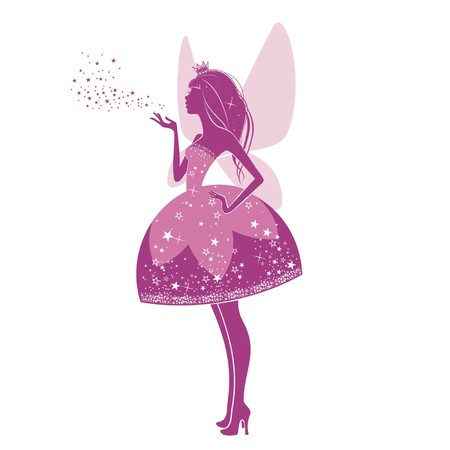 bonito: Silueta de una bella princesa aislado en un fondo blanco