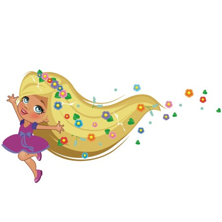 A Rapunzel beautiful girl isolated on a white background