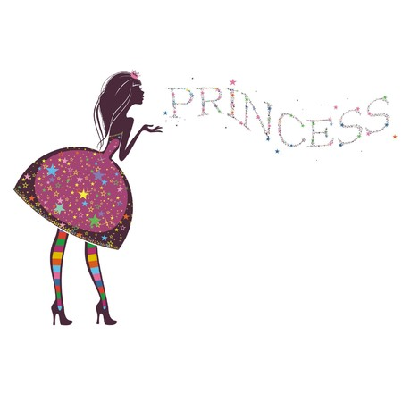 pink dress: Silhouette of a beautiful princess isolated on a white background