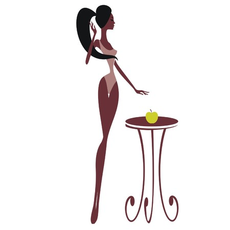 Silhouette of a beautiful girl with an apple