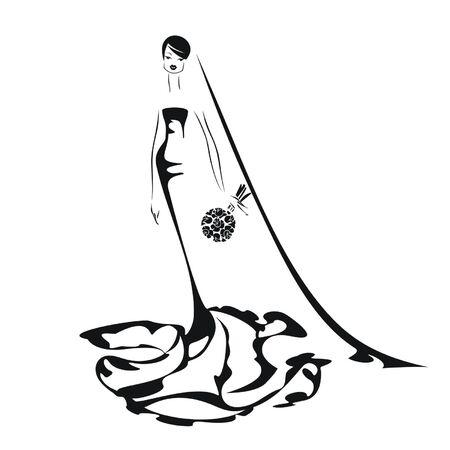 Retro bride isolated on white background