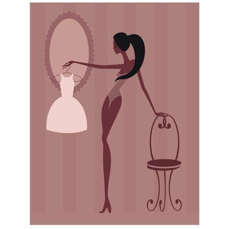 trying: Beautiful woman trying to choose dress