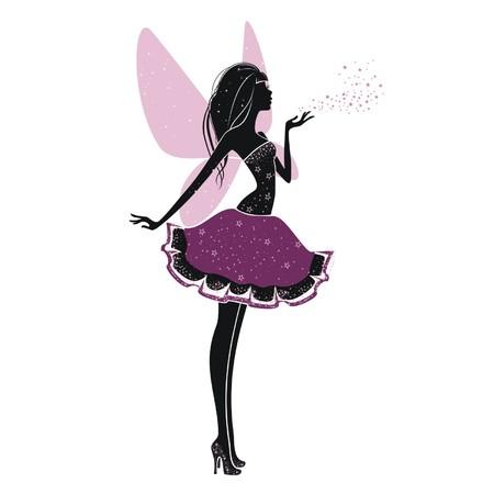 Silhouet van een mooie prinses die op een witte achtergrond Stock Illustratie