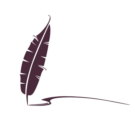 old writing: design of a pen feather for ink and writing Illustration