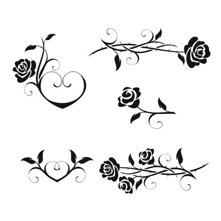Rose flowers with vintage elements vector Çizim