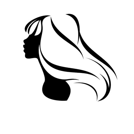 Portrait of a beautiful  girl  isolated on a white background Illustration