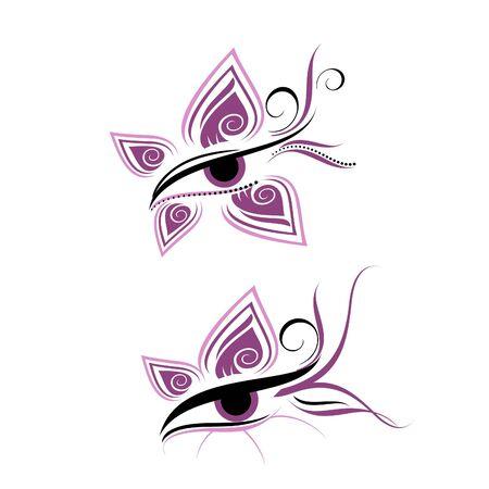 maquillaje de ojos: Ojo abstracto con las pestañas Vectores
