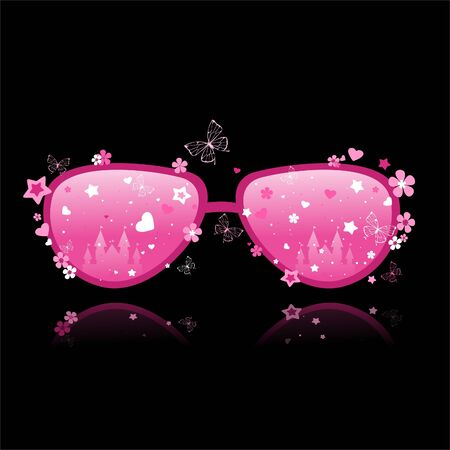 pink and black: Pink glasses on a black background