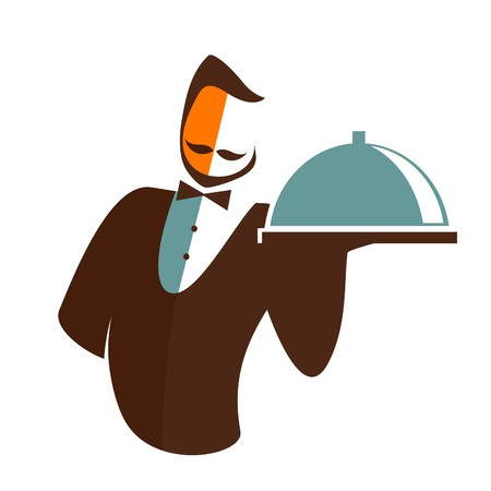 food tray: Waiter isolated on a white background