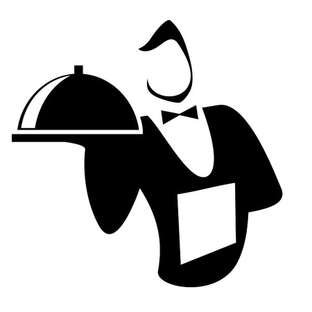 jobs people: Waiter isolated on a white background