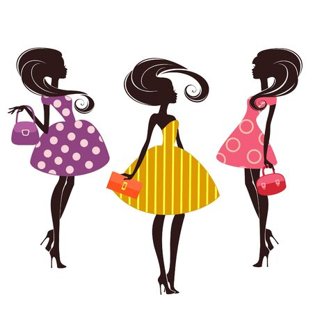 beauty girls: Three fashion girls on white background Illustration