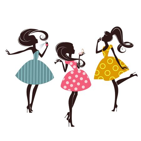 Tre ragazze di moda su sfondo bianco