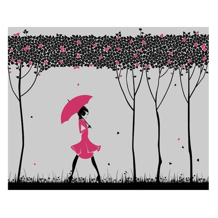 Lonely girl with an umbrella Illustration