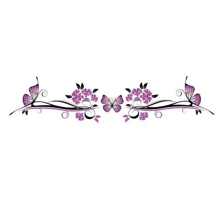Floral Ornament mit Schmetterling Vektorgrafik