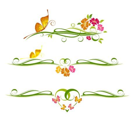 ornement floral avec papillon Vecteurs