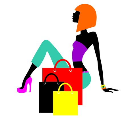beauty girls: fashion shopping girl with bags Illustration