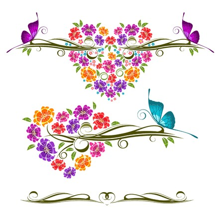 Ornamento floreale con farfalla