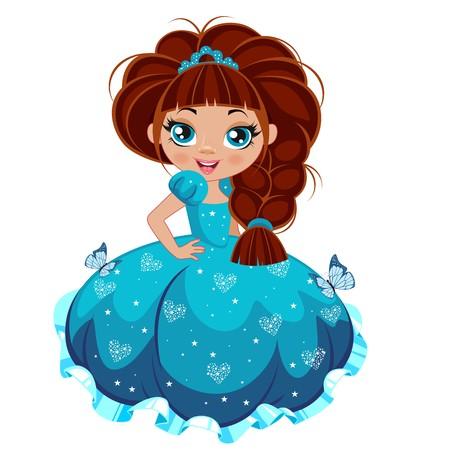 Princess girl in elegant dress on a white background
