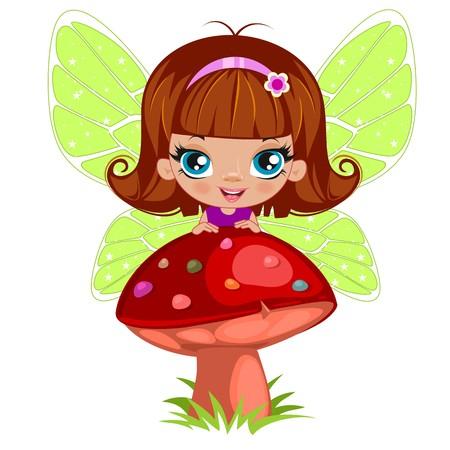 elegant dress: Fairy girl in elegant  dress   on a white background Illustration