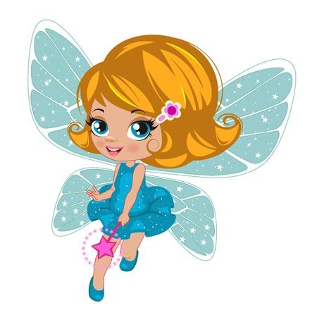 elegant white: Fairy girl in elegant  dress   on a white background Illustration