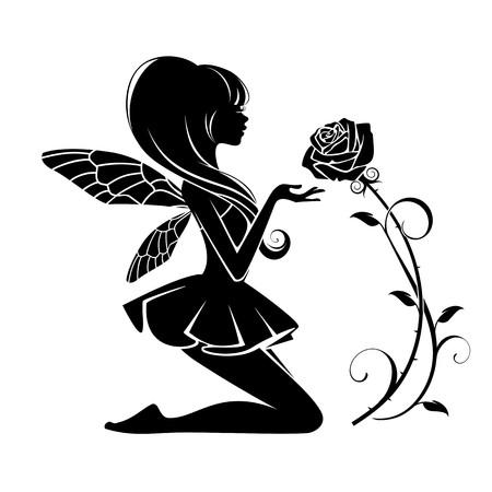 Fee met bloem geïsoleerd op een witte achtergrond Stock Illustratie