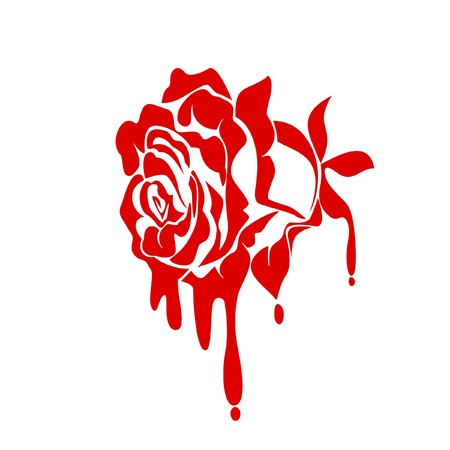 Abstract rose with a drop of blood