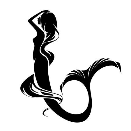 Una silhouette della sirena isolata su uno sfondo bianco Vettoriali