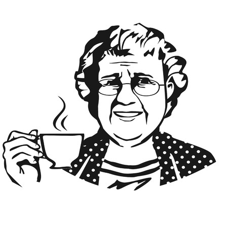 Old lady with cup Vector illustration.