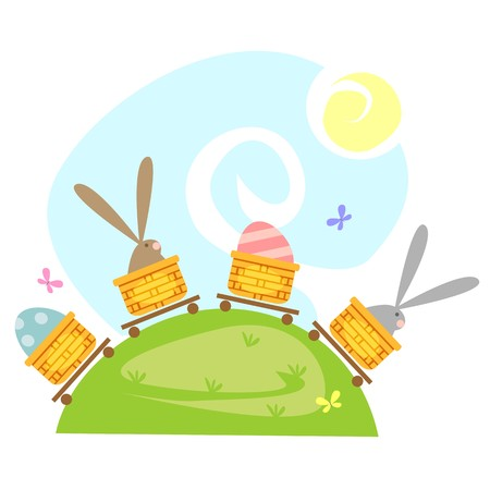 Cartoon Easter Bunny with a hamper of  Easter eggs on hills Illustration
