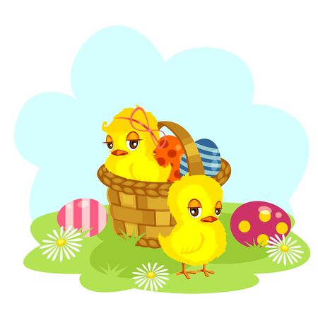 Cartoon Easter chiken with a hamper of Easter eggs Vectores