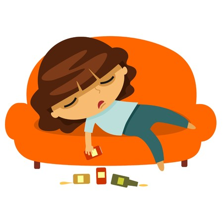 Drunk young woman sleeping on the couch isolated on a white background. Vector illustration. Standard-Bild - 103983877