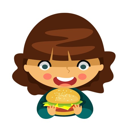 A young girl eating hamburger isolated on a white background. Vector illustration.
