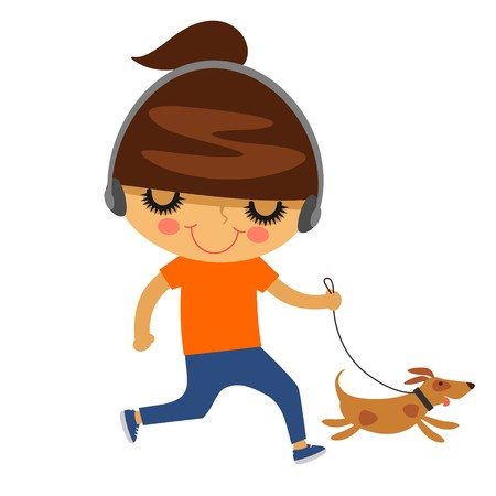 A young woman running with her dog isolated on a white background. Vector illustration.