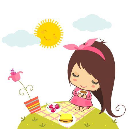 Cute girl on picnic Illustration