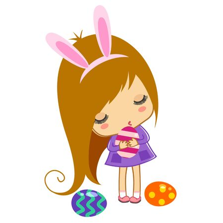 Cute girl with eggs illustration