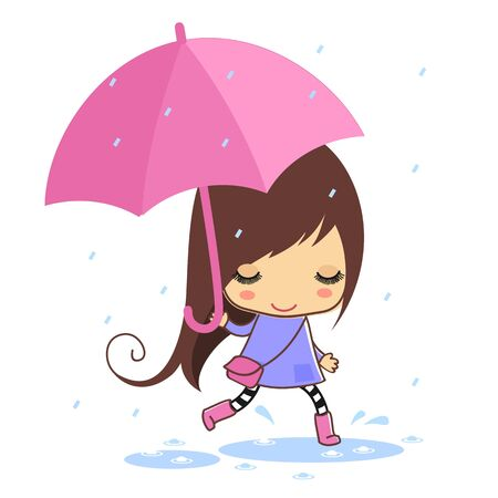 Cartoon girl with umbrella illustration