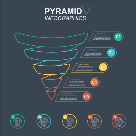 Funnel Pyramid Infographics with 5 charts