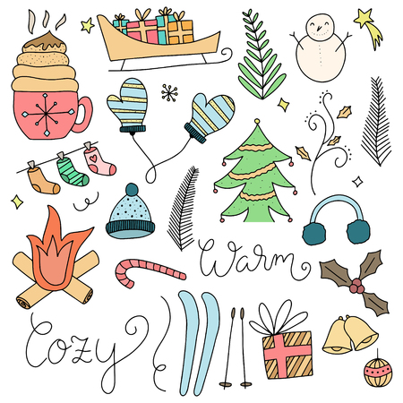 Set of Winter Hand drawn Doodle Vector Illustrations Ilustrace