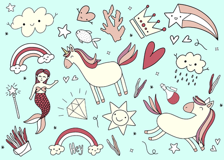 Set of Unicorn Magic Hand drawn Doodles. Vector illustration.