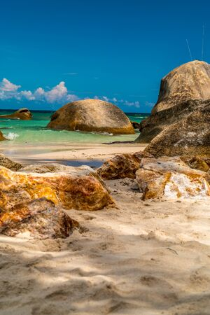 ladigue: Dream seascape view with a big stones in koh samui,thailand Stock Photo