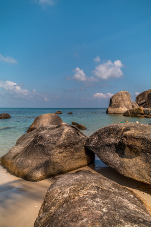 Dream seascape view with a big stones in koh samui,thailand Stock Photo
