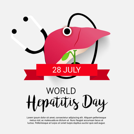 contagious: World Hepatitis Day. Awareness concept with stethoscope and heart poster design.