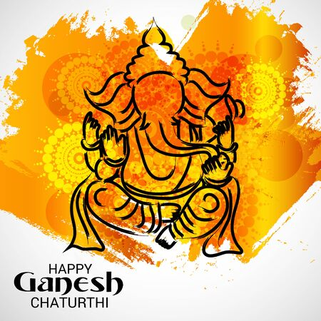 Abstract artistic illustration of Happy Ganesh Chaturthi. Stok Fotoğraf - 83999195