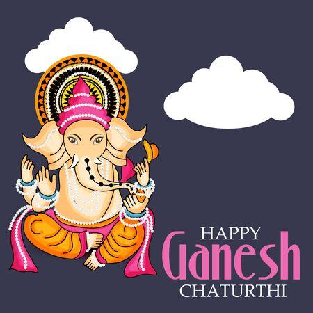 Artistic Happy Ganesh Chaturthi on black background.