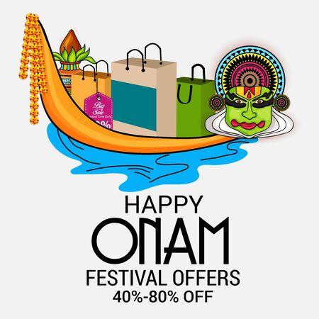 illustraton of a Background for Happy Onam.