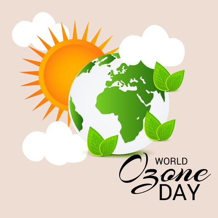 Illustrazione vettoriale di un banner per World Ozone Day. Archivio Fotografico - 85863354