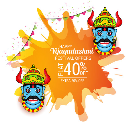 holiday shopping: Happy Dussehra. Vector illustration.