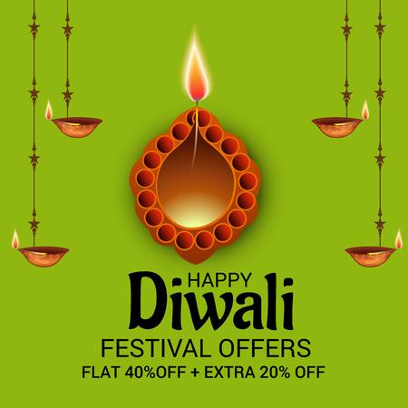 Ilustración feliz del vector de Diwali. Vectores